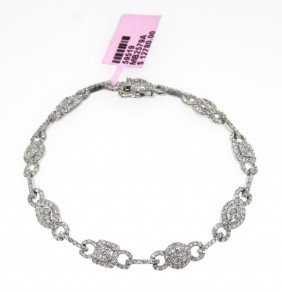 14KT White Gold 2.51ct Diamond Link Bracelet FJM496