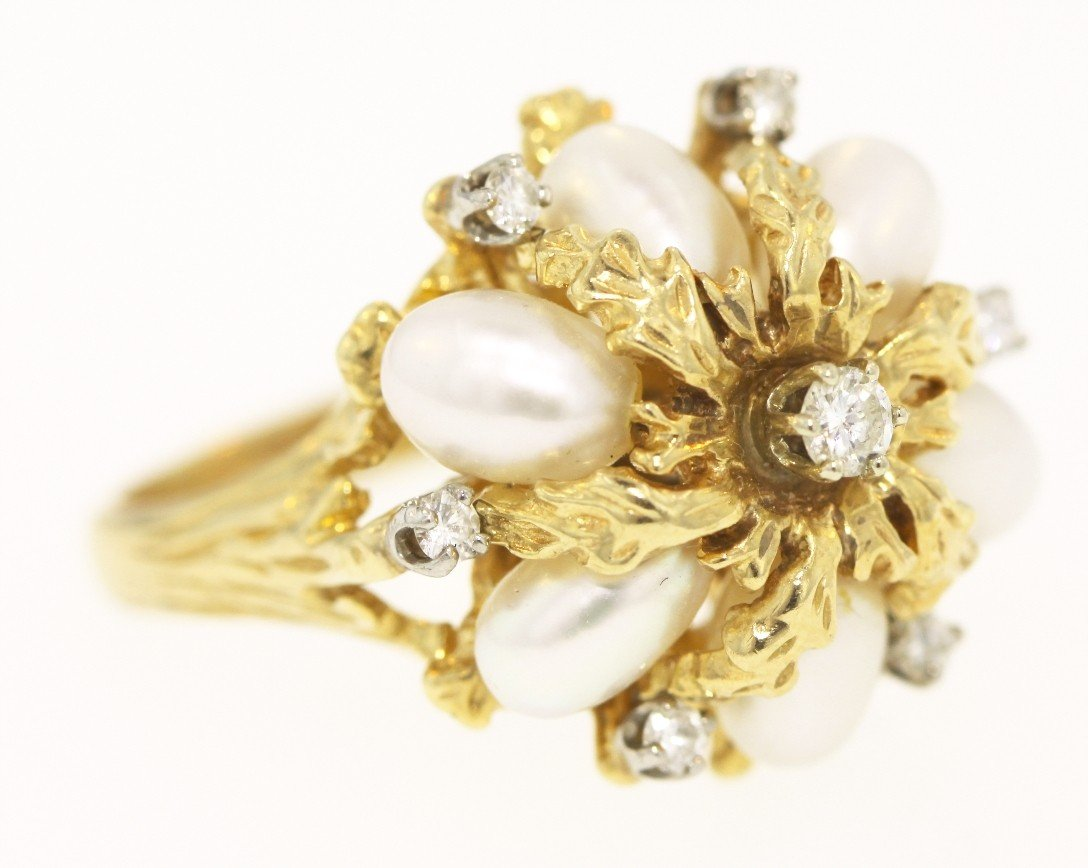 14KT Yellow Gold, Diamond, and Pearl Ring GD380