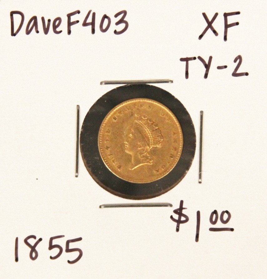 1855 $1 XF Type-2 Gold Coin DaveF403
