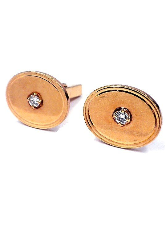 14KT Yellow Gold Tiffany and Co .34ct Diamond Cuff Link