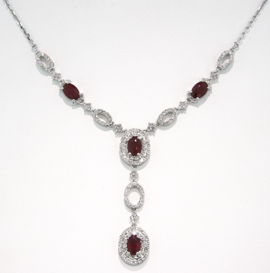 14KT White Gold 2.66ct Ruby and Diamond Necklace FJM569