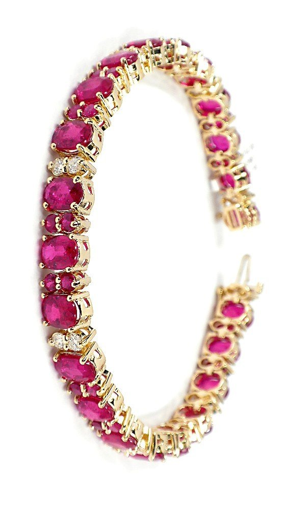 14KT Yellow Gold 30.7ct Ruby and Diamond Bracelet A3617