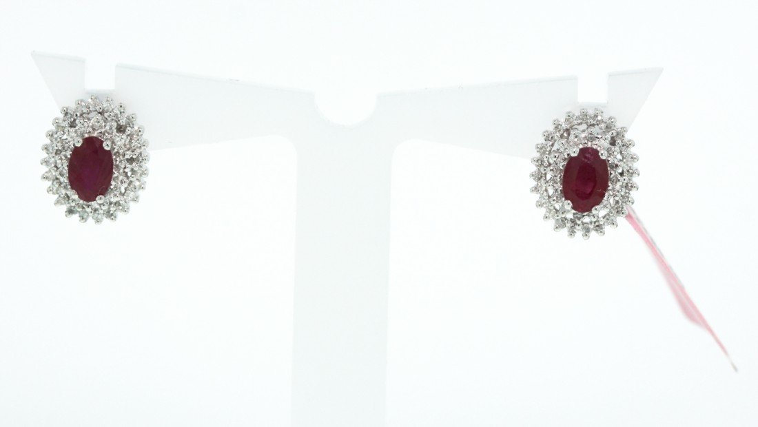 14KT White Gold 1.27ct Ruby and Diamond Stud Earrings F
