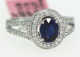 14KT White Gold 1.1ct Sapphire And Diamond Ring FJM718