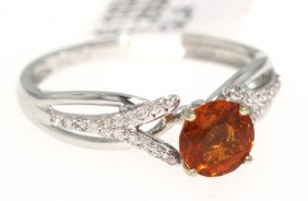 18KT White Gold Orange Sapphire And Diamond Ring RM409