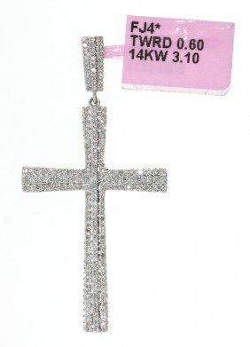 14KT White Gold .6ct Diamond Cross Pendant FJM645