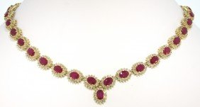 14KT Yellow Gold 34.1ct Ruby And Diamond Necklace RM385