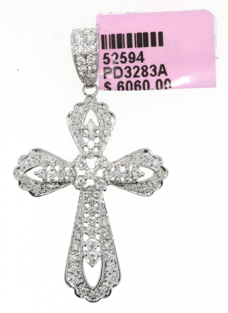 18KT White Gold .89ct Diamond Cross Pendant FJM649