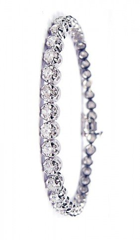 18KT White Gold 9.45ct Diamond Tennis Bracelet A3554