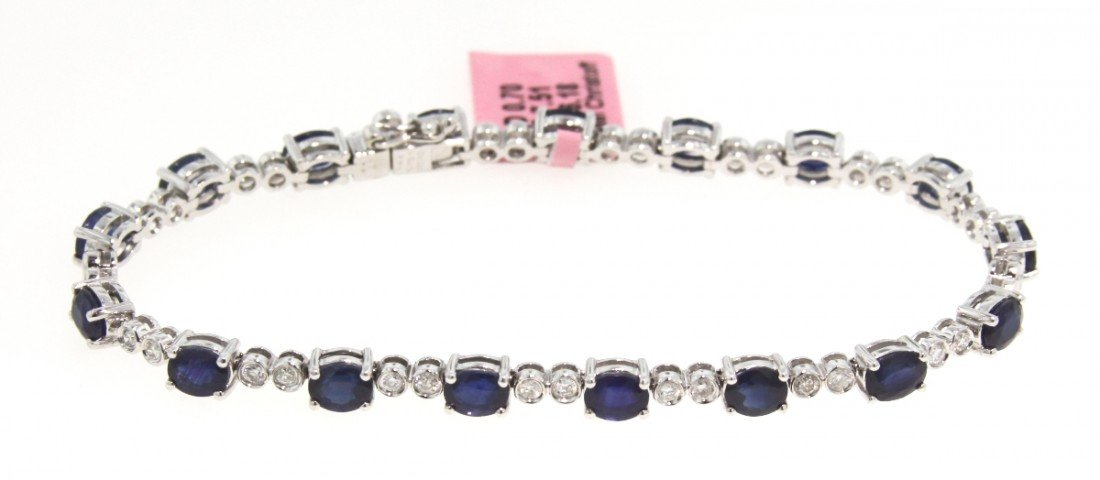 14KT White Gold 7.51ct Sapphire and Diamond Bracelet FJ