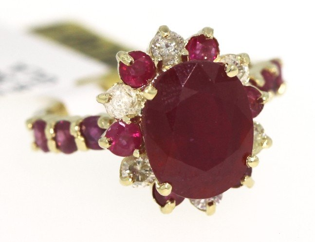 14KT Yellow Gold 6.34ct Ruby and Diamond Ring RM413