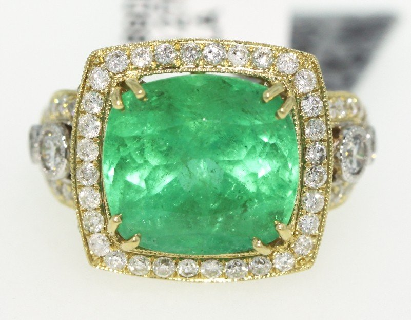 14KT Yellow Gold 10.27ct Emerald and Diamond Ring RM397