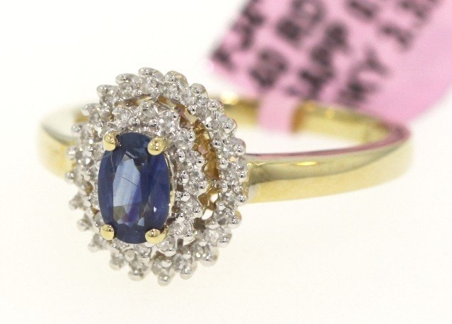 14KT Yellow Gold .63ct Sapphire and Diamond Ring FJM830