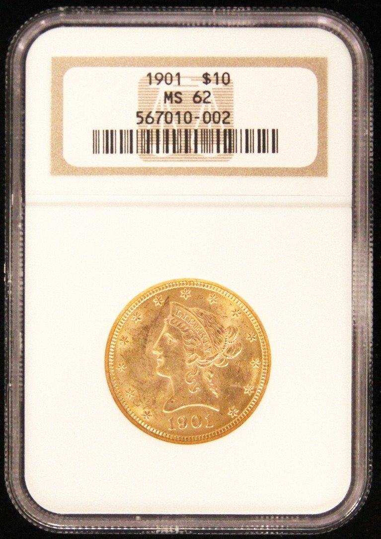 1901 $10 NGC MS62 Liberty Head Eagle Gold Coin DaveF620