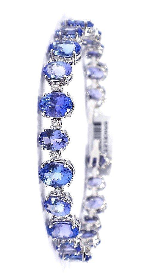 14KT White Gold 23.19ct Tanzanite and Diamond Bracelet