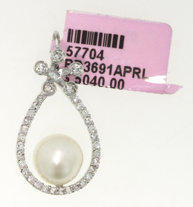 18KT White Gold Pearl and Diamond Pendant FJM1154