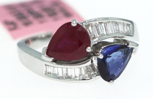 18KT White Gold Ruby, Sapphire and Diamond Ring FJM728