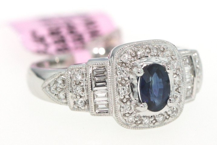 14KT White Gold .74ct Sapphire and Diamond Ring FJM573