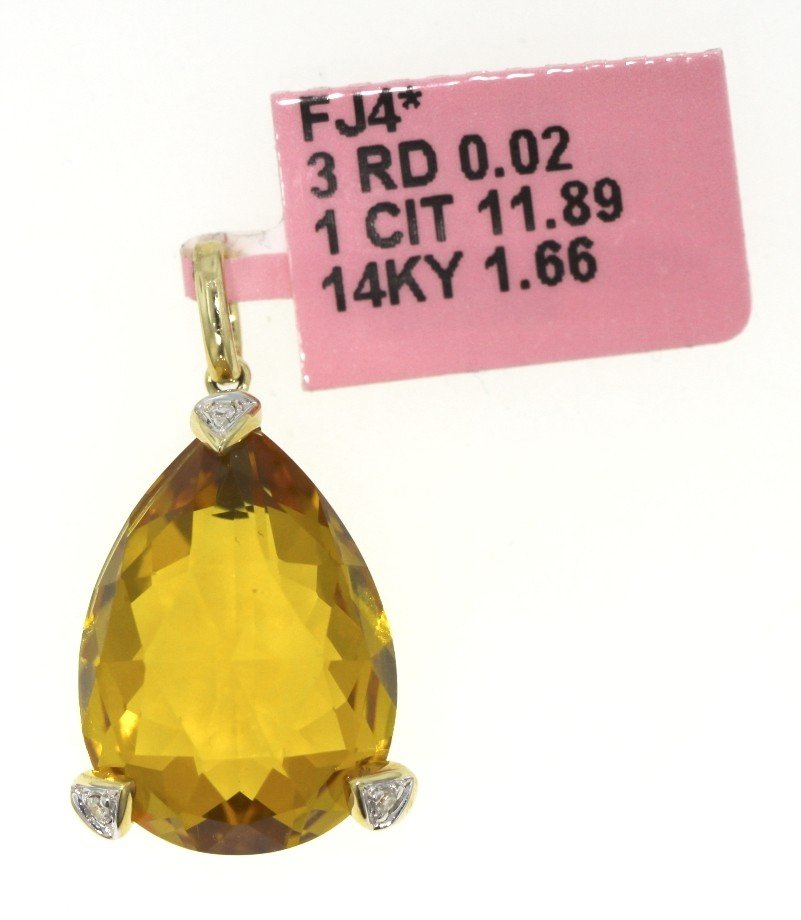 14KT Yellow Gold 11.89ct Citrine and Diamond Pendant FJ