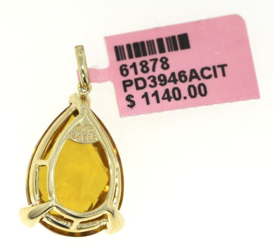 14KT Yellow Gold 11.89ct Citrine and Diamond Pendant FJ - 2