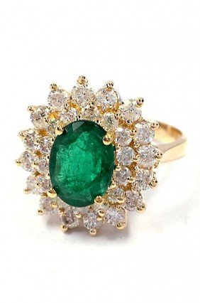 14KT Yellow Gold 1.58ct Emerald And Diamond Ring A3639