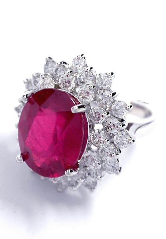 14KT White Gold Ruby and Diamond Ring A3602