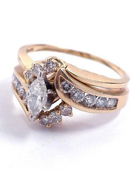 14KT Yellow Gold 1.08ct Diamond Wedding Set WBS80