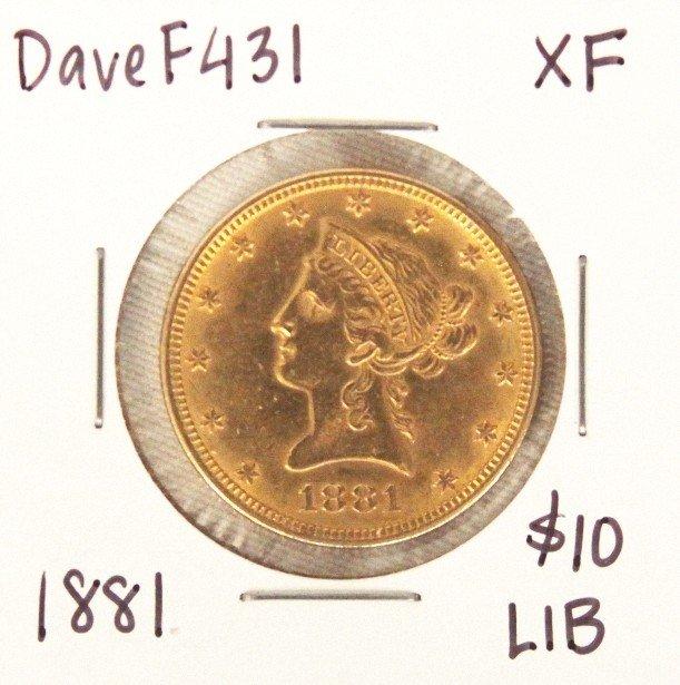 1881 $10 XF Liberty Head Eagle Gold Coin DaveF431