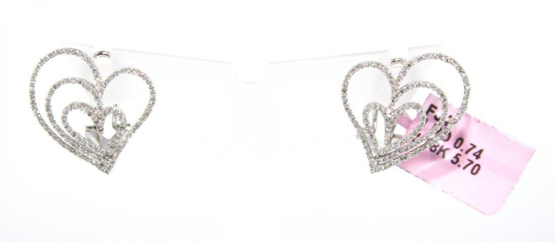 18KT White Gold .74ct Diamond Heart Earrings FJM1167