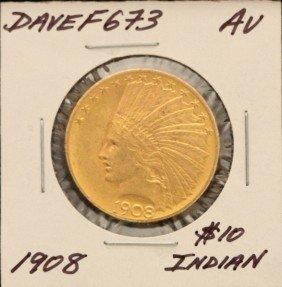 1908 $10 AU Indian Head Eagle Gold Coin DaveF673
