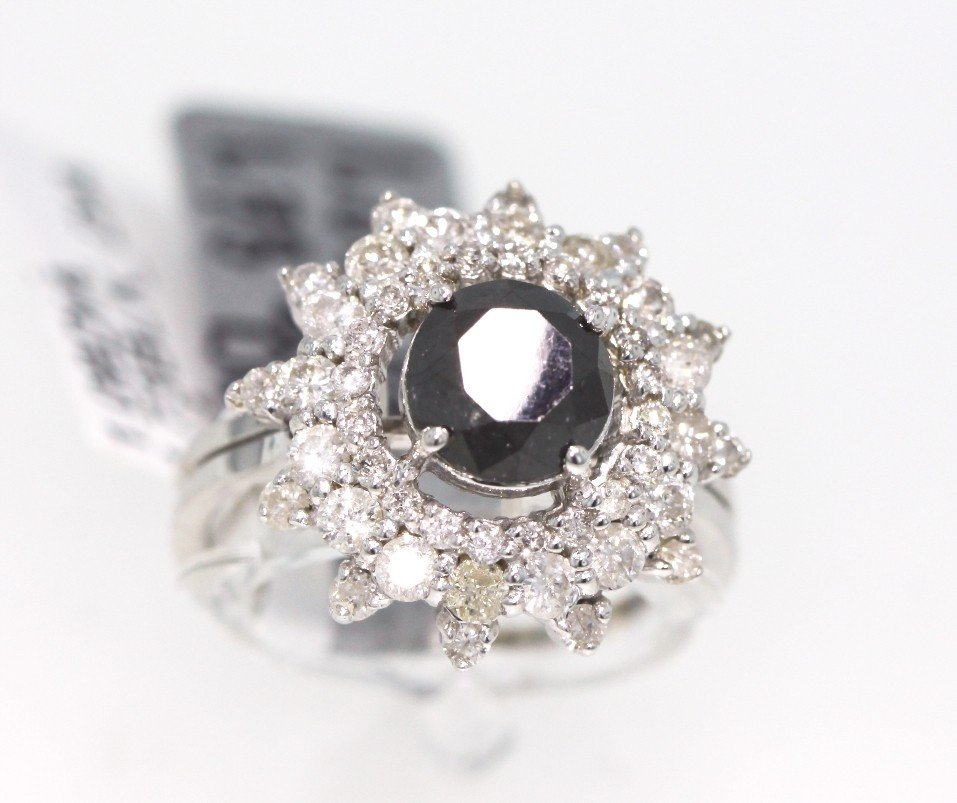 14KT White Gold 2.81ctw Black and White Diamond Ring RM
