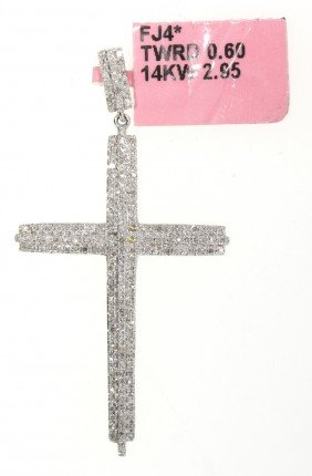 14KT White Gold .6ct Diamond Cross Pendant FJM1157