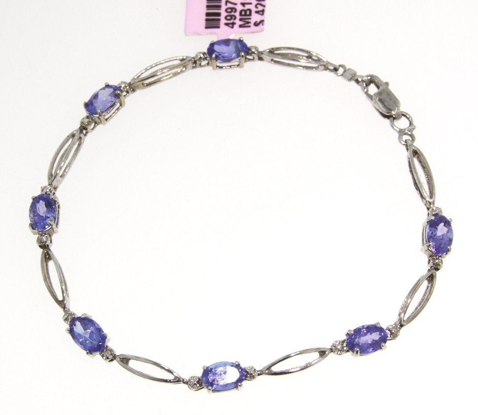 14KT White Gold 3.9ct Tanzanite and Diamond Bracelet FJ