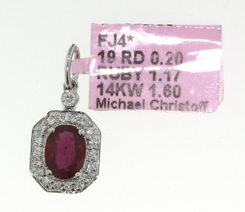 14KT White Gold 1.17ct Ruby and Diamond Pendant FJM845