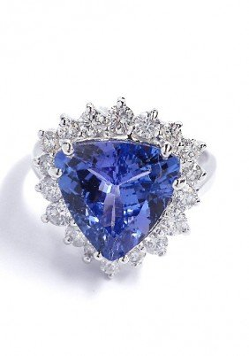 14KT White Gold 3.23ct Tanzanite And Diamond Ring A3517