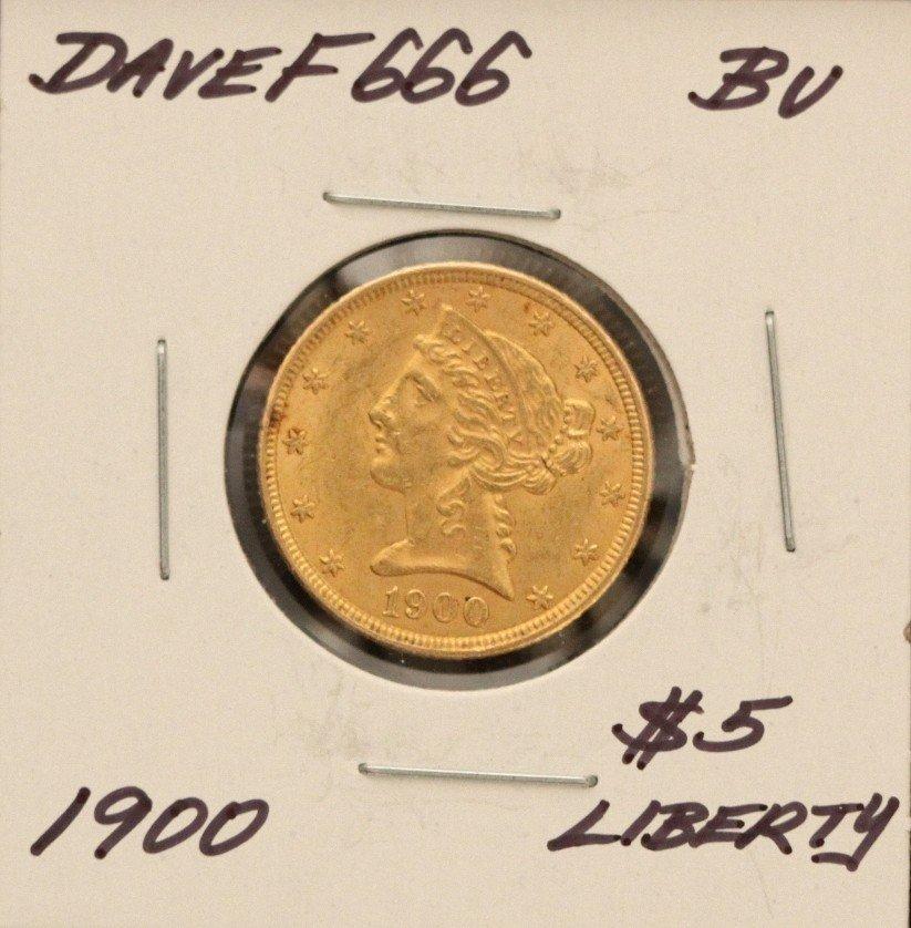 1900 $5 BU Liberty Head Half Eagle Gold Coin DaveF666