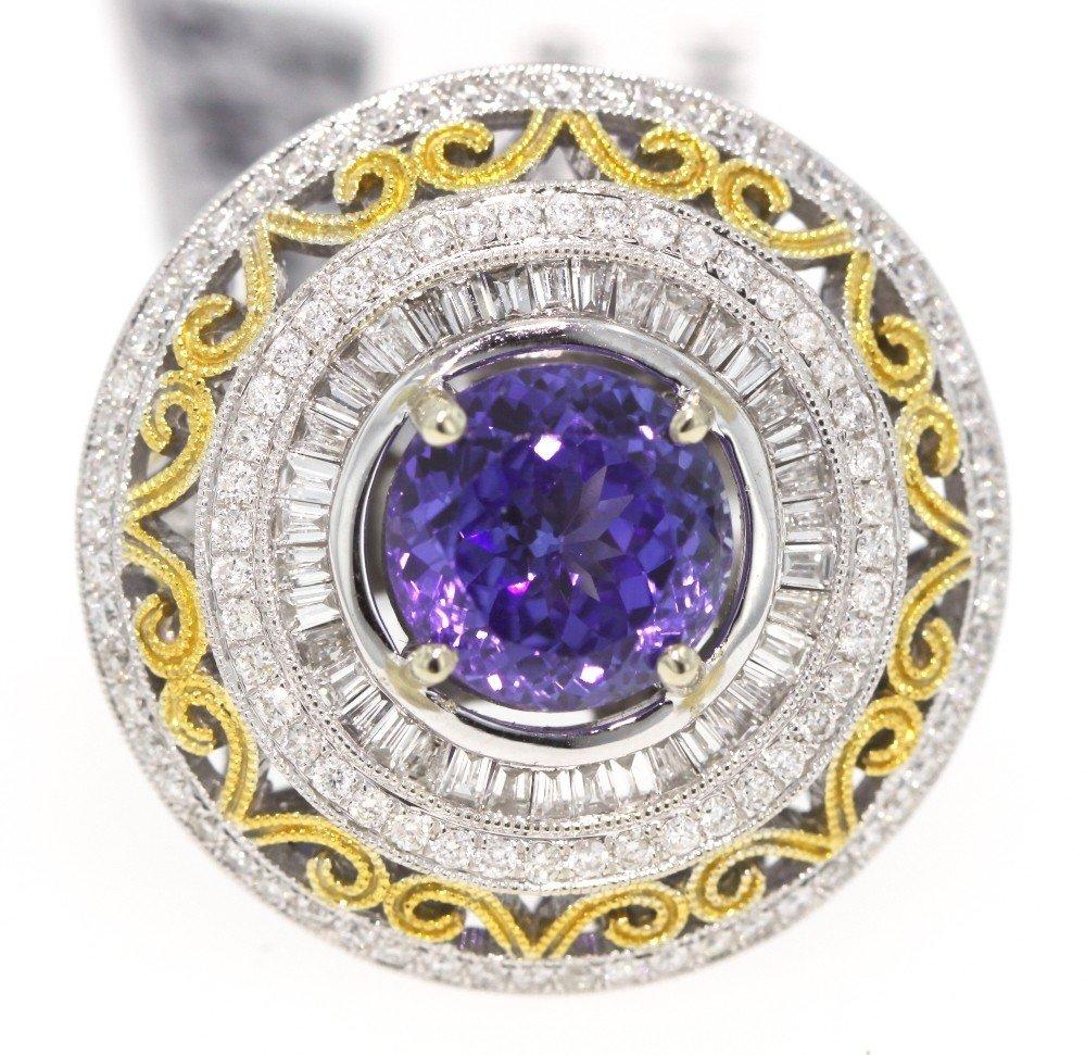 14KT White Gold 5.44ct Tanzanite and Diamond Ring RM219