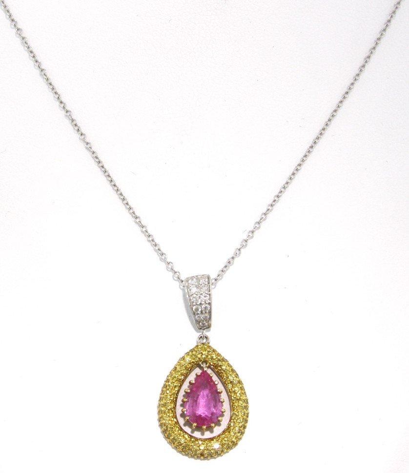 18KT White Gold Pink Sapphire, Yellow and White Diamond