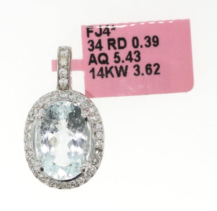 14KT White Gold 5.43ct Aquamarine and Diamond Pendant F