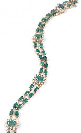 14KT Yellow Gold Emerald And Diamond Bracelet A3597