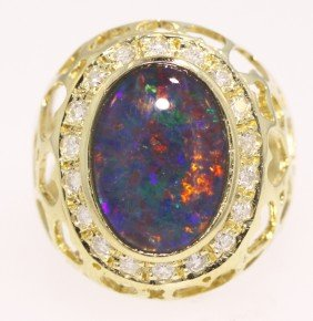 14KT Yellow Gold 3.47ct Opal And Diamond Ring 5.8gms GD