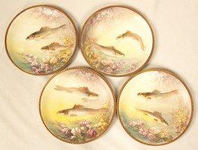 Antique Set Of 4 Limoges Fish Plates By Dubois ED1250