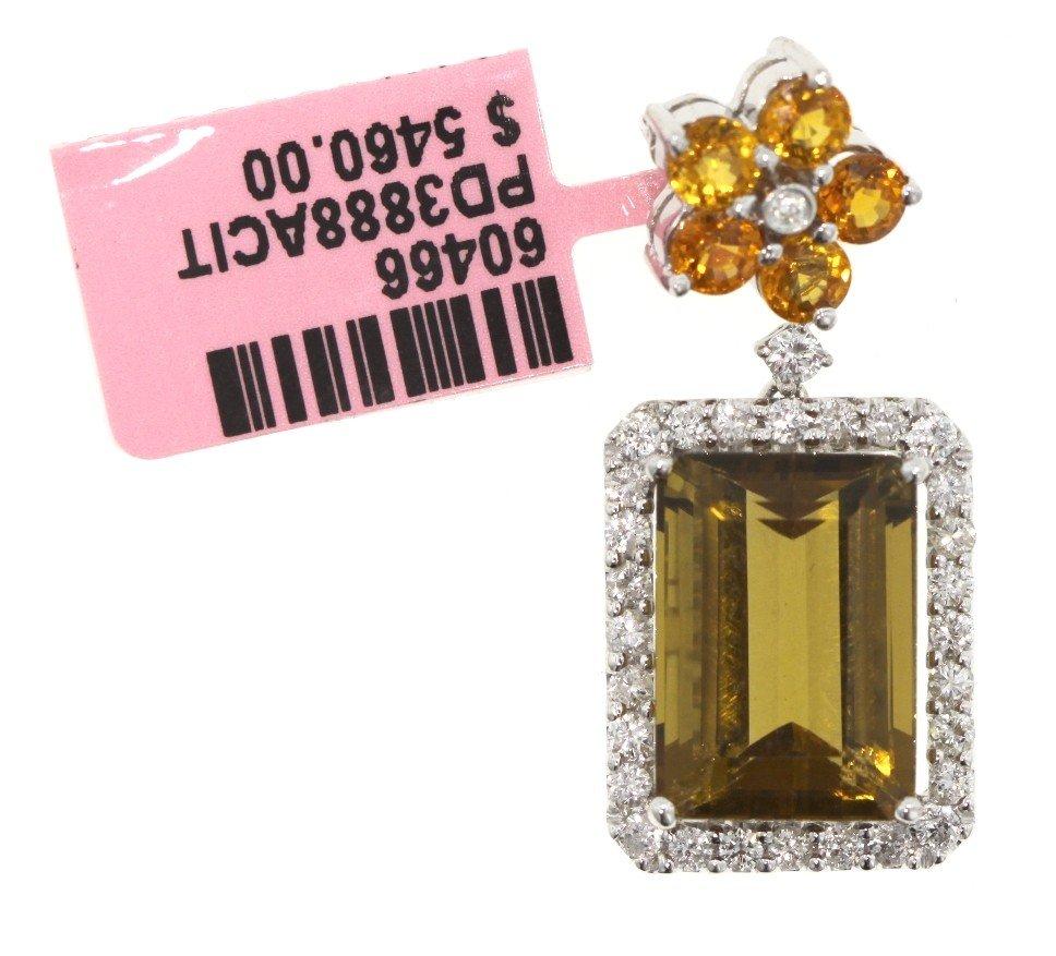 14KT White Gold Citrine, Yellow Sapphire, and Diamond P