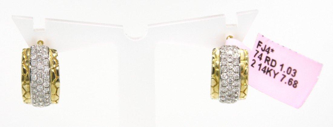 14KT Yellow Gold Diamond Huggie Earrings FJM1032