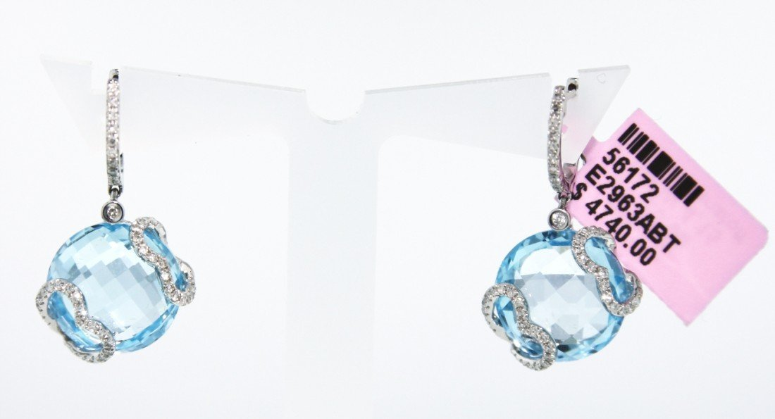 14KT White Gold 25.08ct Blue Topaz and Diamond Earrings