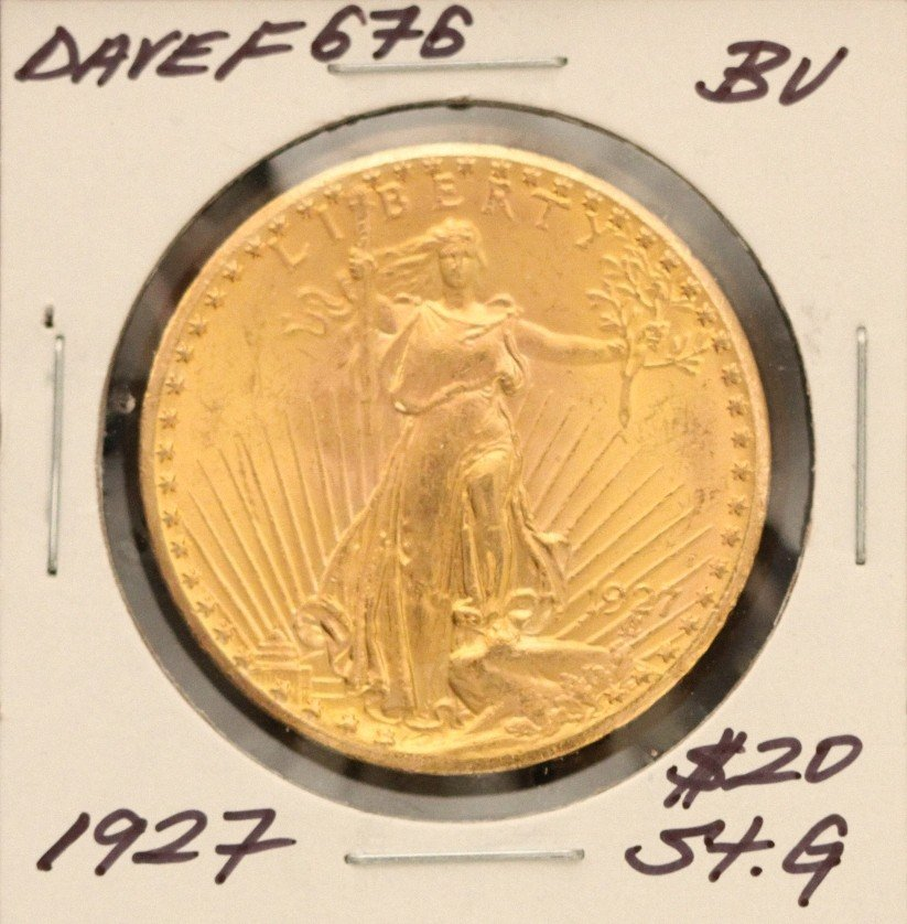 1927 $20 BU St. Gaudens Double Eagle Gold Coin DaveF676