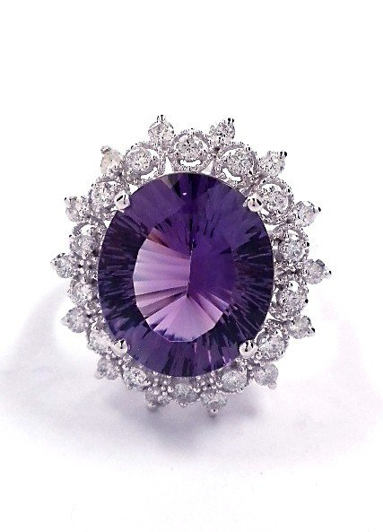 14KT White Gold 6.12ct Amethyst and Diamond Ring A3434