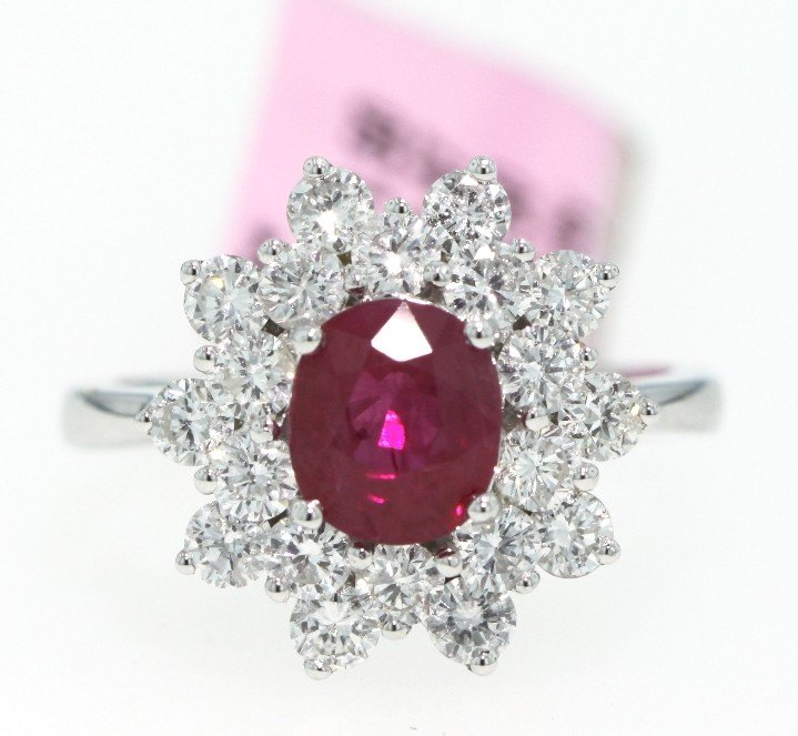 18KT White Gold 1.67ct Ruby and 1.5ct Diamond Ring FJM6