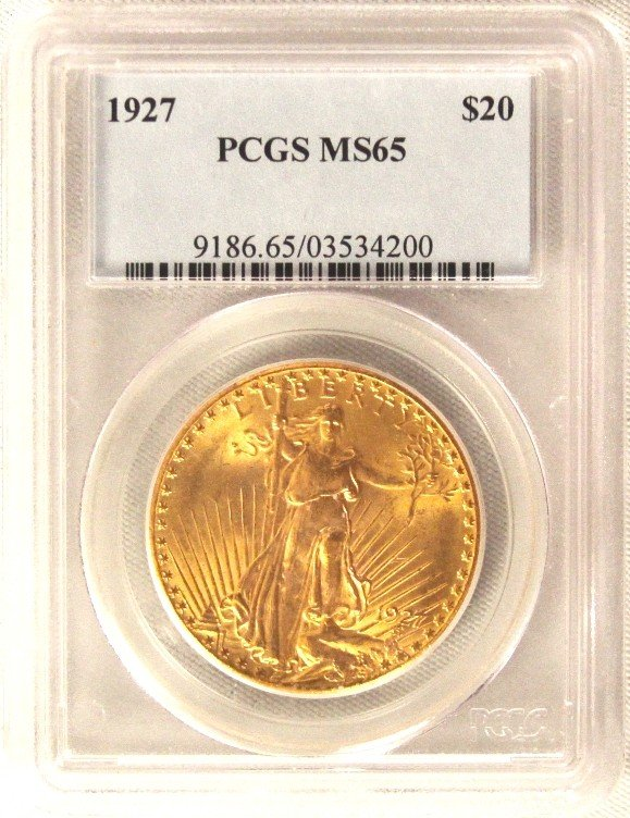 1927 $20 PCGS MS65 St. Gaudens Double Eagle Gold Coin G