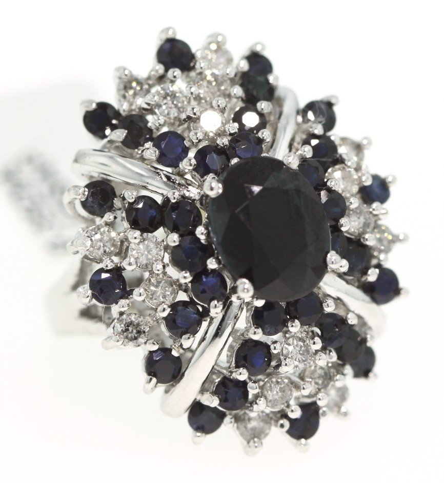 SILVER 7.15ct Sapphire and Diamond Ring RM344